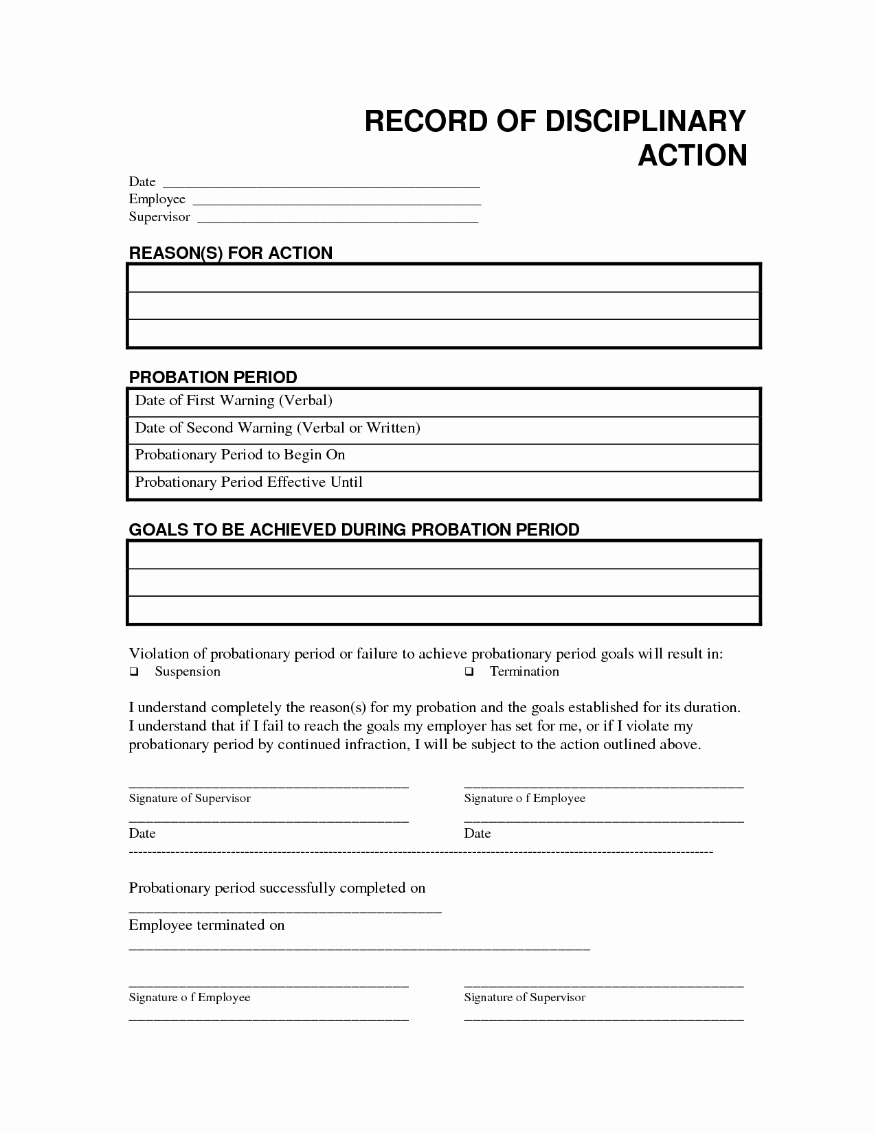 Employment Write Up Template Inspirational Record Disciplinary Action Free Office form Template by