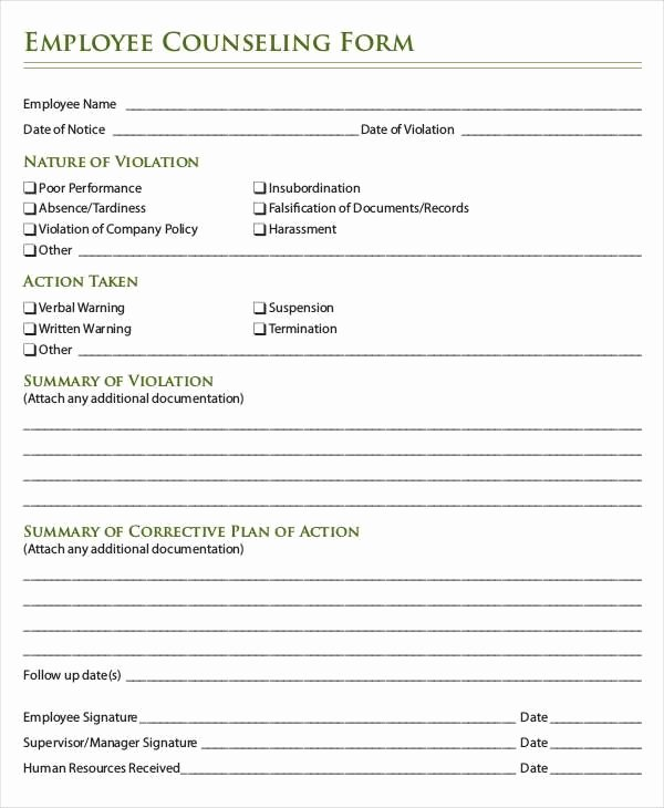 Employment Write Up Template Luxury Employee Write Up form Mgmt