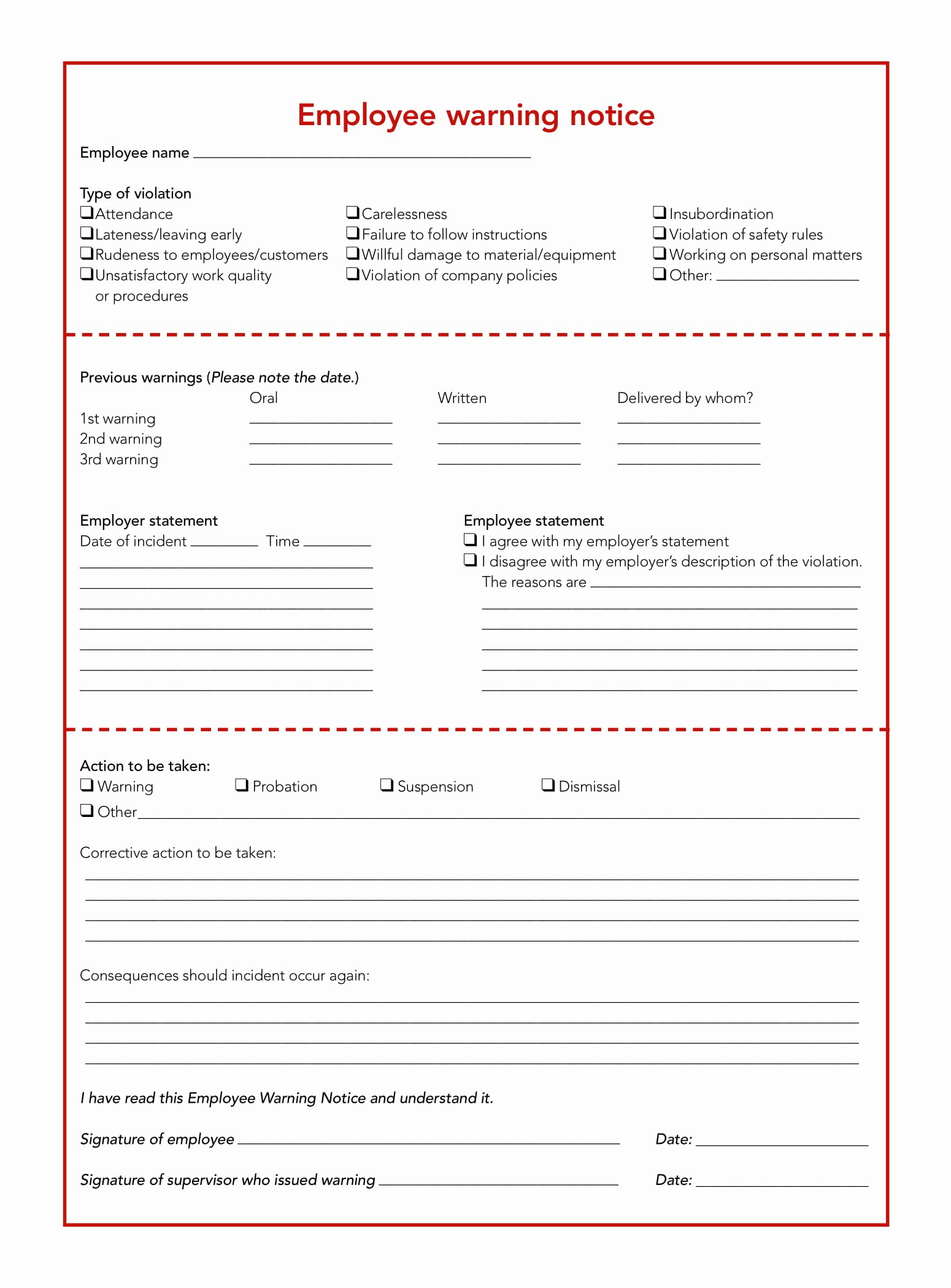 Employment Write Up Template Unique 23 Employee Write Up form Free Download [word Pdf]