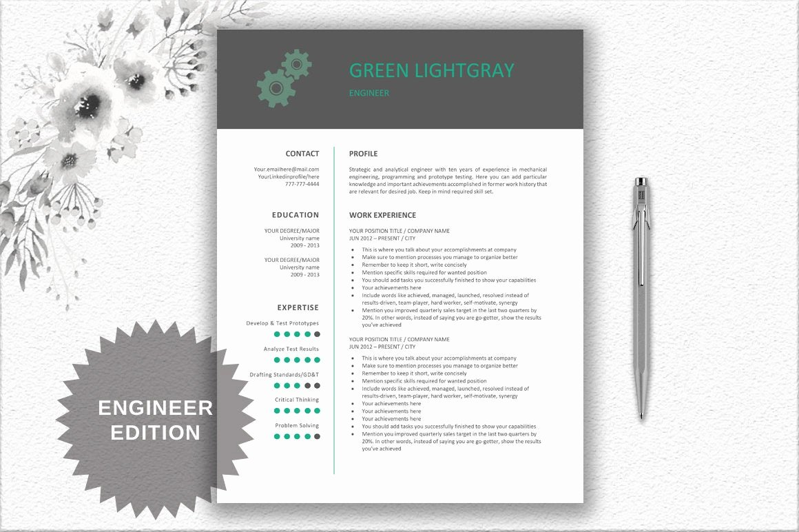 Engineer Resume Template Word Awesome Engineer Resume Printable Template Editable In Word Gear