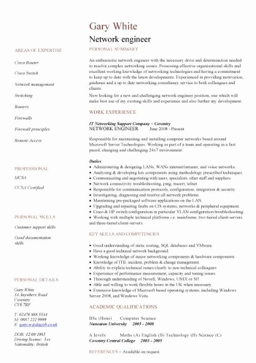 Engineer Resume Template Word Awesome Network Engineer Cv Sample Cv Examples Technology Job