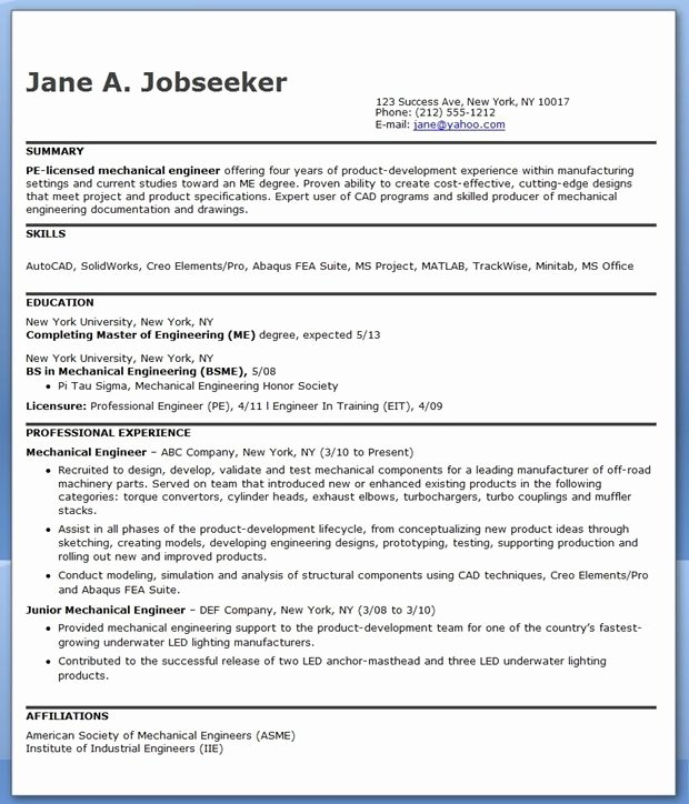Engineer Resume Template Word Beautiful Mechanical Engineering Resume Sample Pdf Experienced
