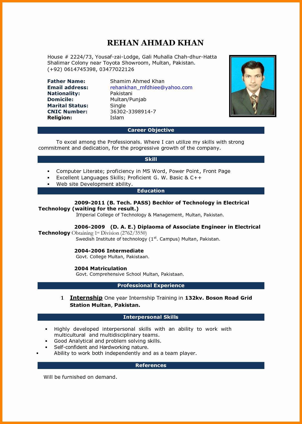Engineer Resume Template Word Elegant 5 Cv Samples Word File