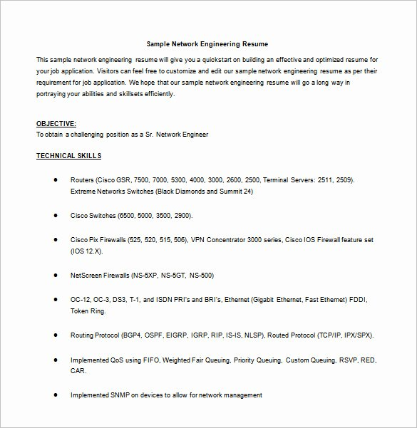 Engineer Resume Template Word Fresh Network Engineer Resume Template – 9 Free Word Excel