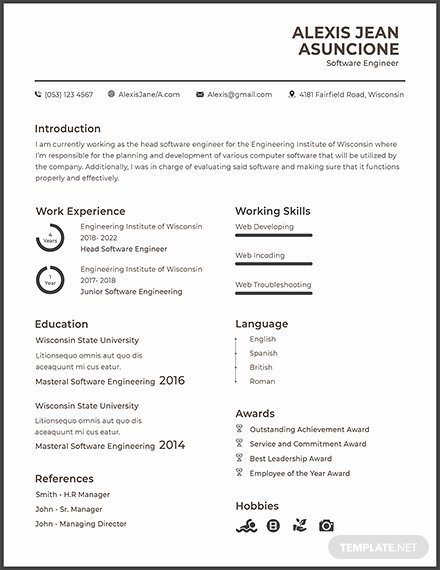 Engineer Resume Template Word Inspirational Free software Quality Engineer Cv Template Download 200