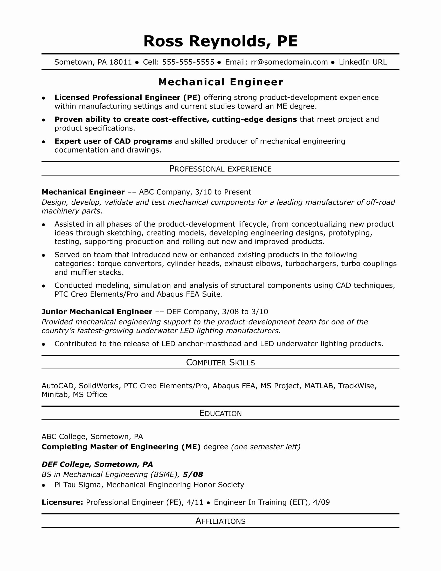 Engineer Resume Template Word Luxury Sample Resume for A Midlevel Mechanical Engineer