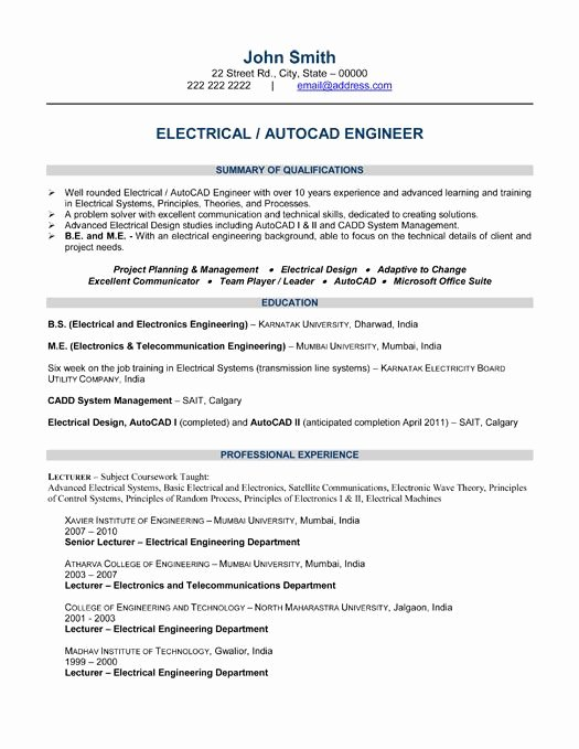 Engineer Resume Template Word New 10 Best Best Electrical Engineer Resume Templates