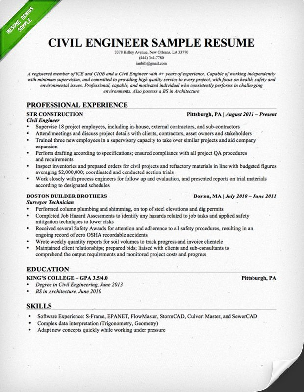 Engineer Resume Template Word New Civil Engineering Resume Sample