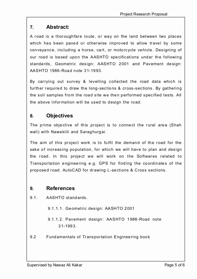 Engineering Project Proposal Template Awesome Project Research Proposal Design Of 4 5km Road