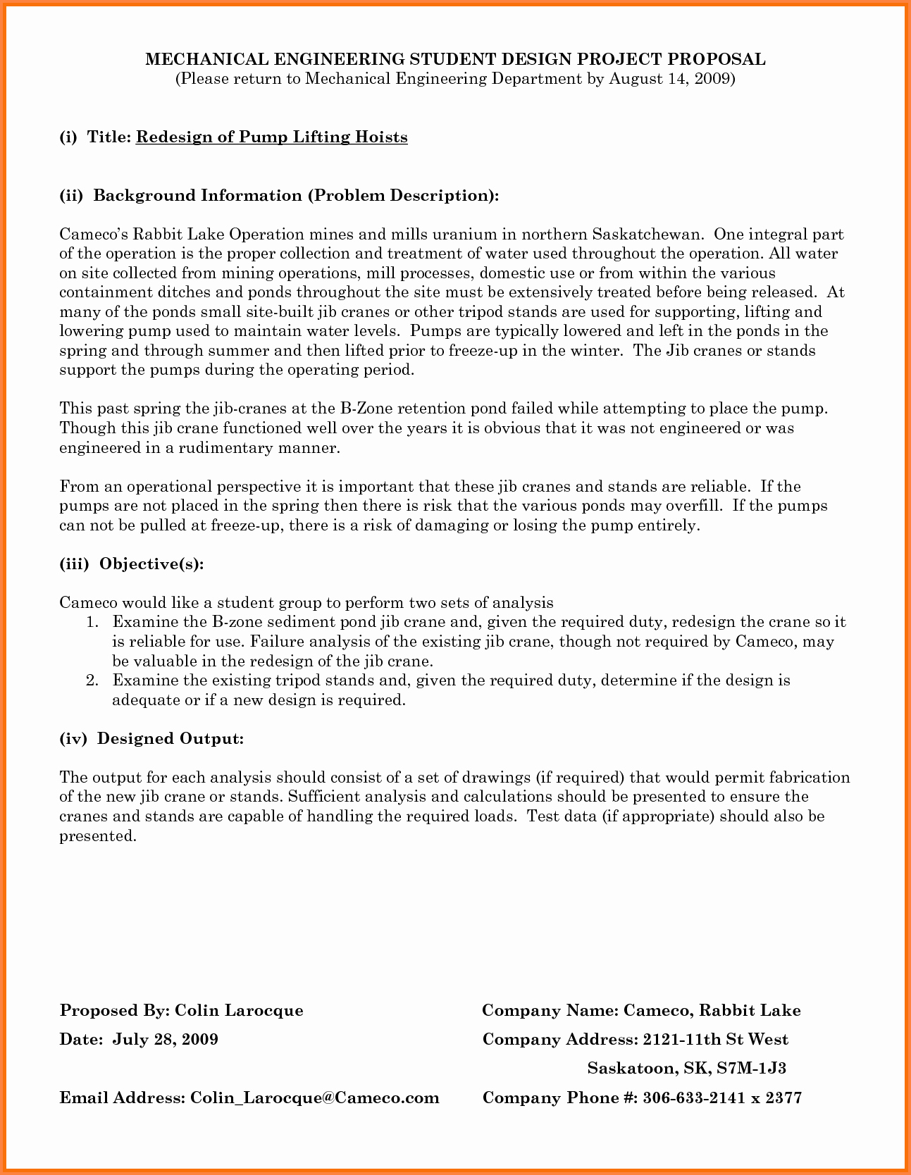 Engineering Project Proposal Template Beautiful 7 Engineering Project Proposal Template