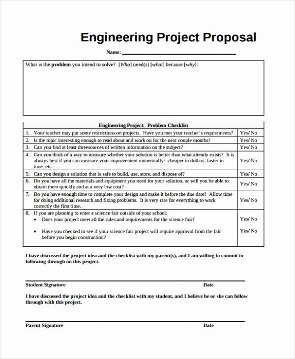 Engineering Project Proposal Template Luxury 9 Project Proposal form Samples Free Sample Example