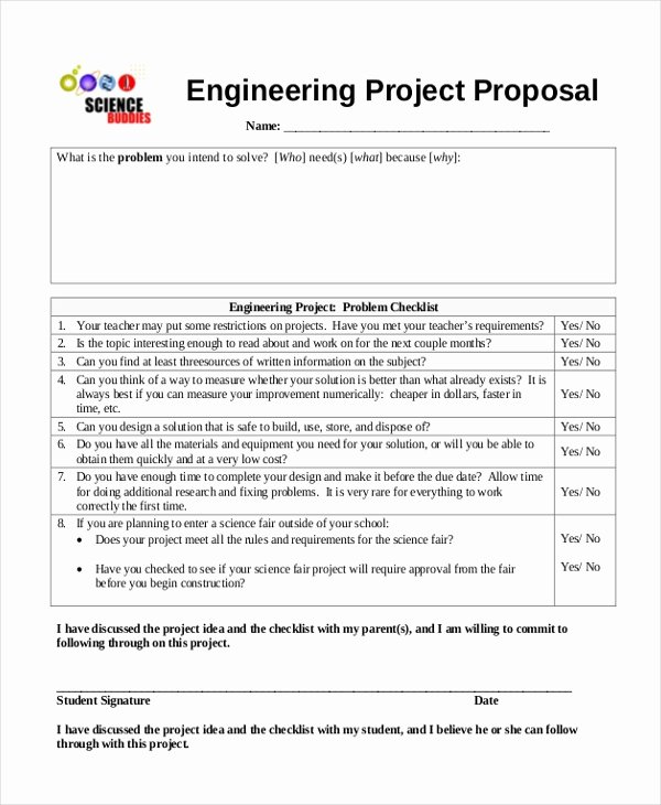 Engineering Project Proposal Template New Sample Science Fair Proposal form 10 Free Documents In