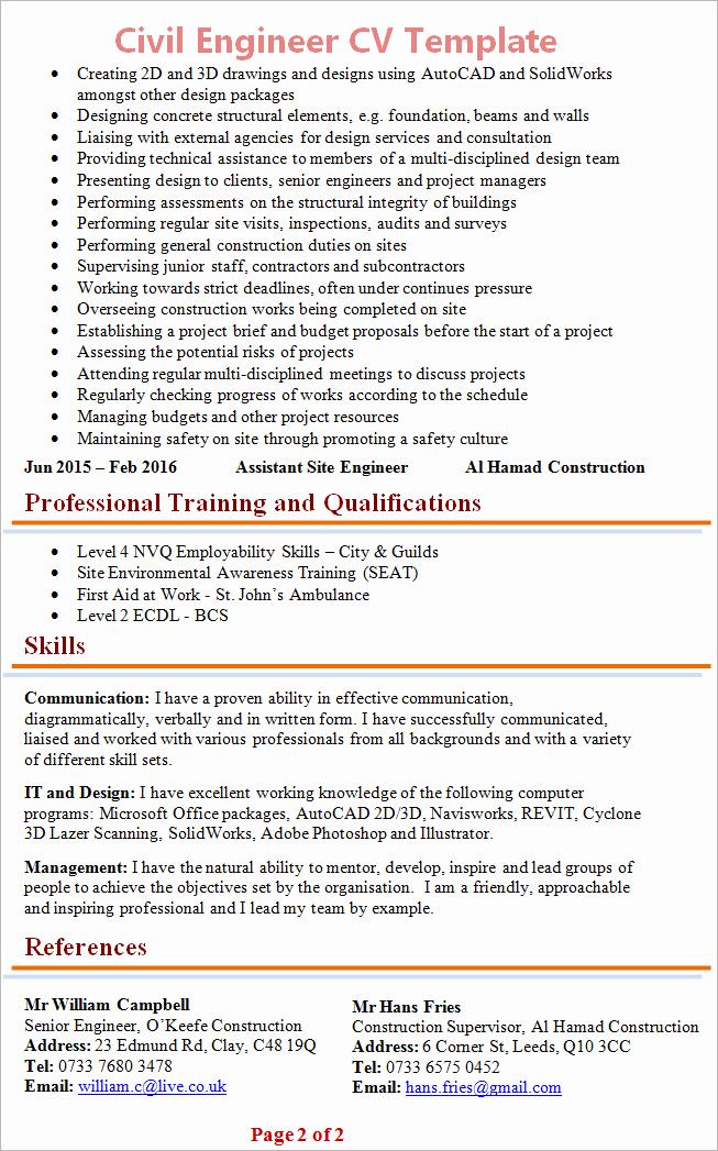 Engineering Resume Templates Word Best Of Civil Engineer Cv Template
