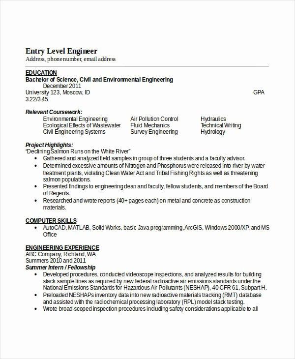 Engineering Resume Templates Word Elegant Engineering Resume Template 32 Free Word Documents