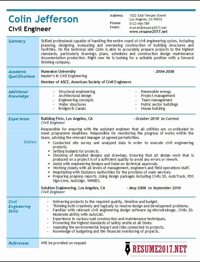 Engineering Resume Templates Word Unique Civil Engineer Resume 2017 Samples