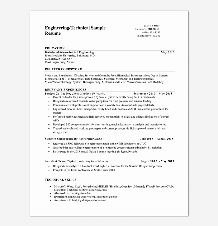 Engineering Resume Templates Word Unique Engineering Resume Template 20 Examples for Word & Pdf
