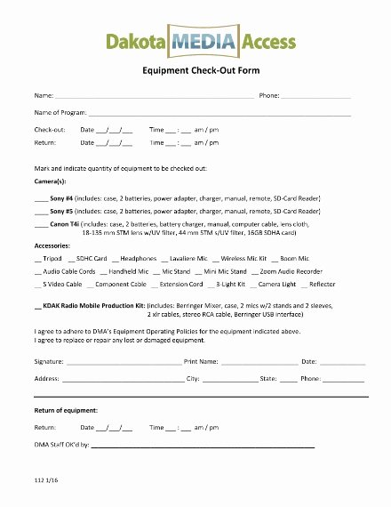 Equipment Checkout form Template Awesome 10 Equipment Sign Out Sheet Templates