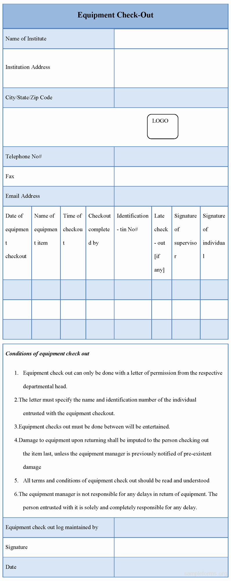 Equipment Checkout form Template Awesome Equipment Checkout form Sample forms