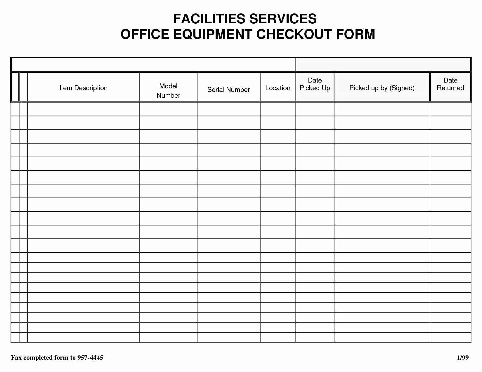 Equipment Checkout form Template Beautiful Best S Of Check Out form Template Jail Equipment