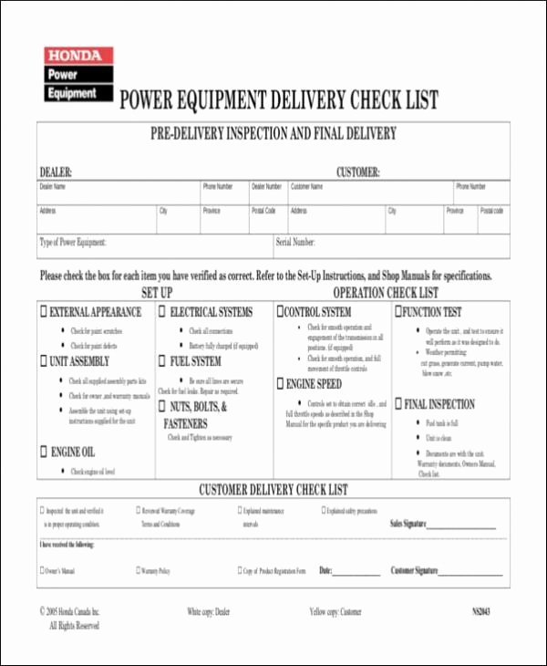 Equipment Checkout form Template Beautiful Free 19 Delivery Checklist Samples & Templates In Word