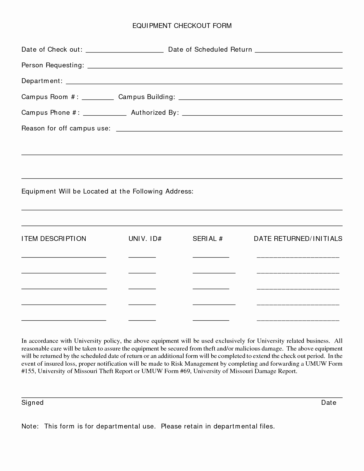 Equipment Checkout form Template Best Of Best S Of Employee Equipment Check Out form