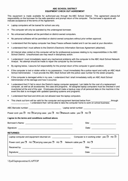 Equipment Checkout form Template Lovely Equipment Check Out Agreement Printable Pdf