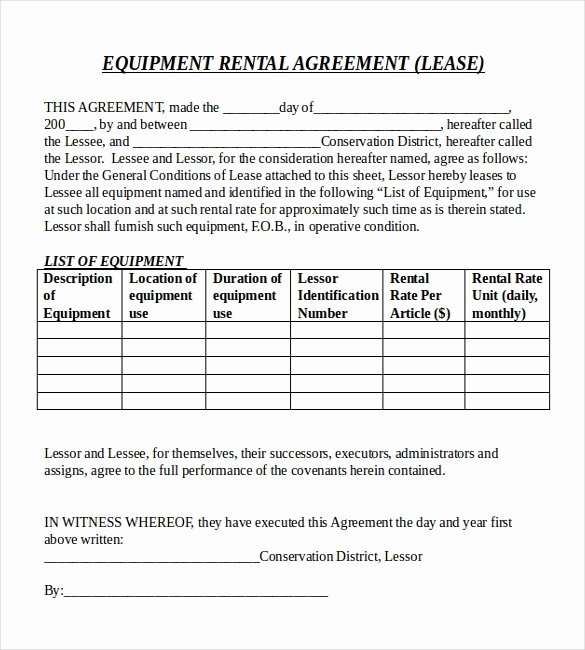 Equipment Lease Agreement Template Word Best Of Rental Agreement Templates – 15 Free Word Pdf Documents
