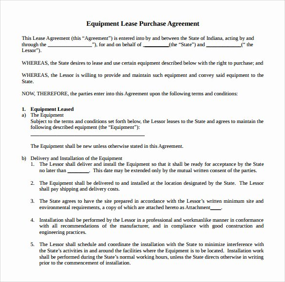 Equipment Lease Agreement Template Word Best Of Sample Equipment Rental Agreement Template 15 Free