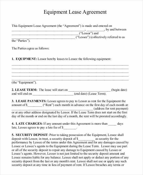 Equipment Lease Agreement Template Word Elegant 15 Rental Lease Agreement – Free Sample Example format