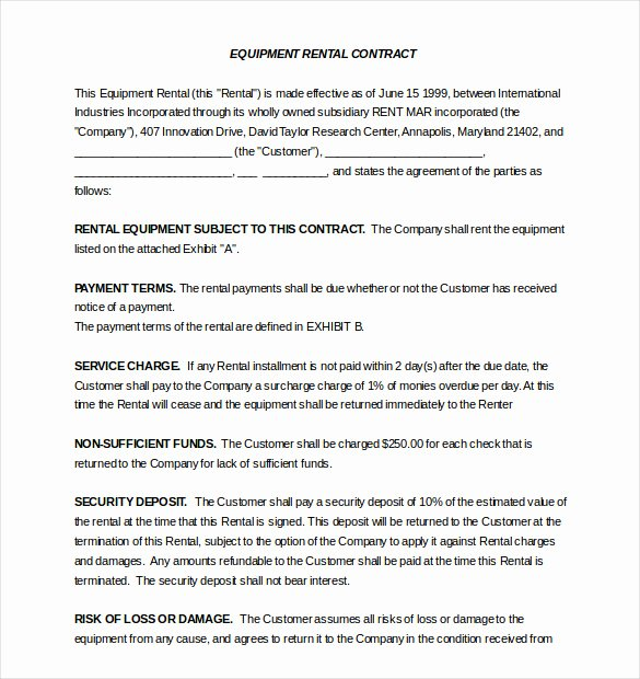 Equipment Lease Agreement Template Word Elegant Rental Agreement Template – 20 Free Word Excel Pdf