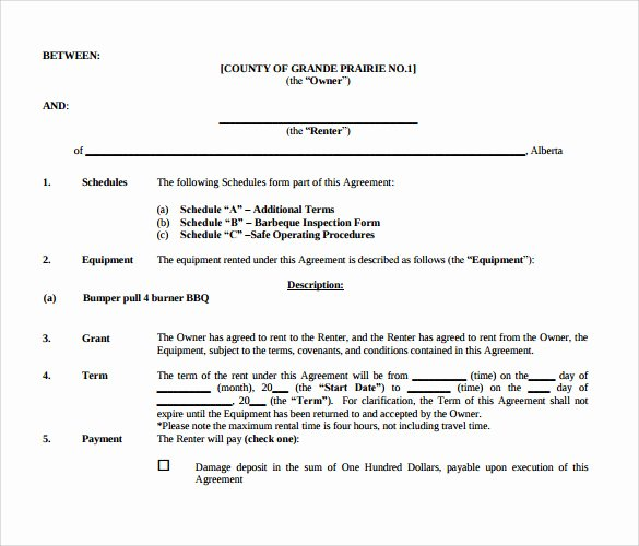 Equipment Lease Agreement Template Word Elegant Sample Equipment Rental Agreement Template 15 Free