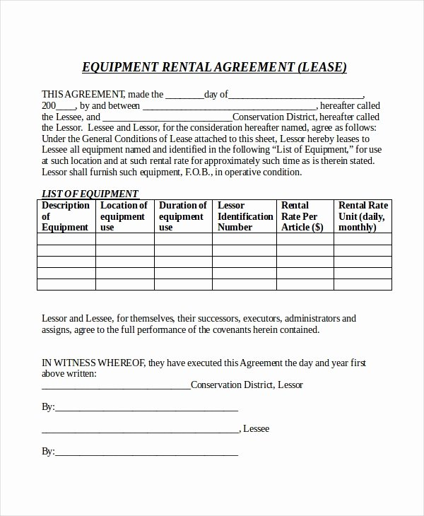 Equipment Lease Agreement Template Word Fresh Rental Agreement form – 10 Free Word Pdf Documents