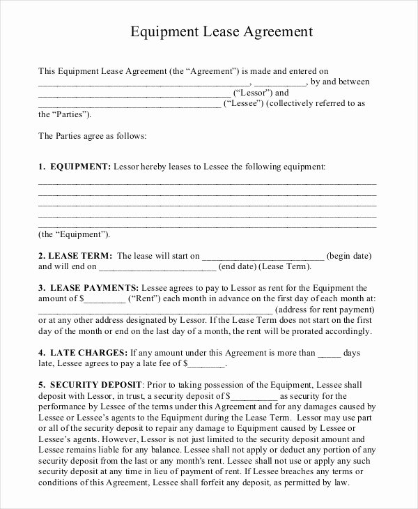 Equipment Lease Agreement Template Word Inspirational 11 Equipment Rental Agreement Doc Pdf