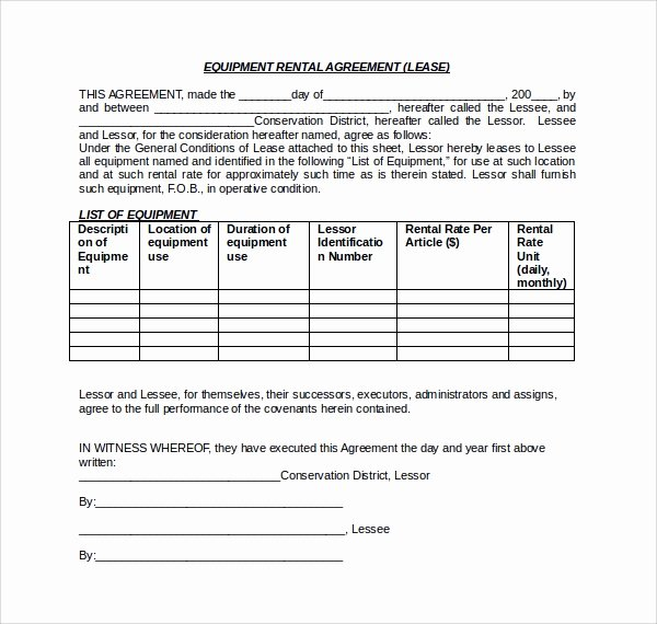 Equipment Lease Agreement Template Word Lovely Sample Equipment Lease form 10 Download Free Documents