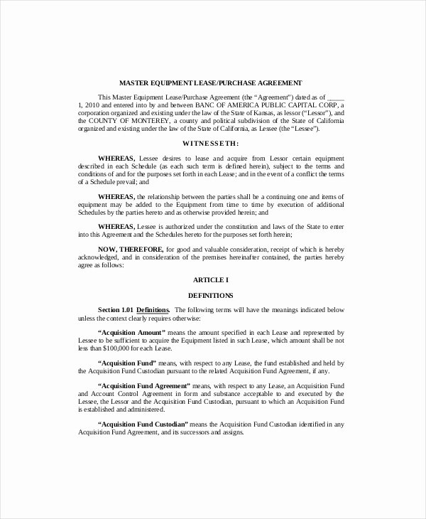 Equipment Lease Agreement Template Word New 10 Equipment Lease Templates Word Pdf Google Docs