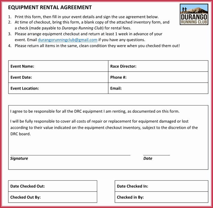 Equipment Lease Agreement Template Word New Equipment Rental Lease Agreement 12 Samples formats In