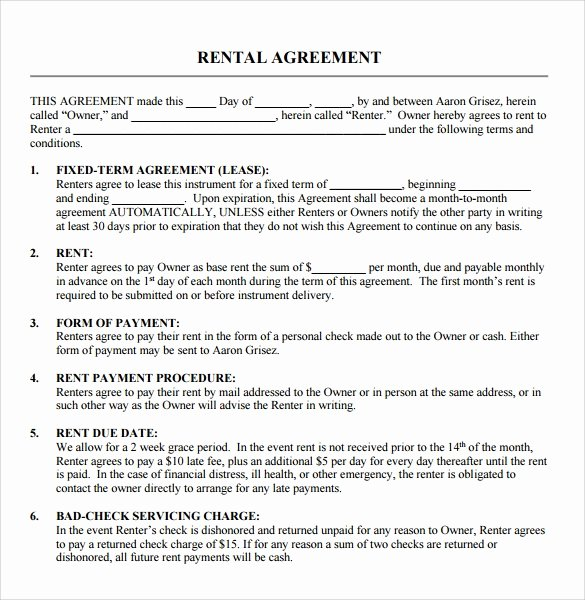 Equipment Lease Agreement Template Word New Sample Blank Rental Agreement 8 Free Documents In Pdf