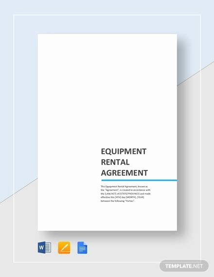 Equipment Lease Agreement Template Word New Sample Equipment Rental Agreement Template 15 Free