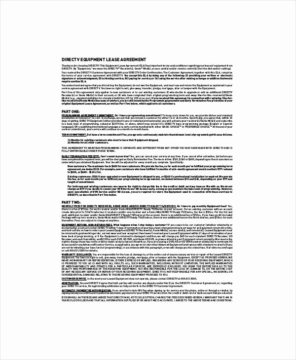 Equipment Lease Agreement Template Word Unique 10 Equipment Lease Templates Word Pdf Google Docs
