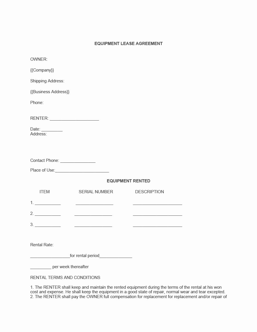 Equipment Rental Agreement Template Free Beautiful 44 Simple Equipment Lease Agreement Templates Template Lab