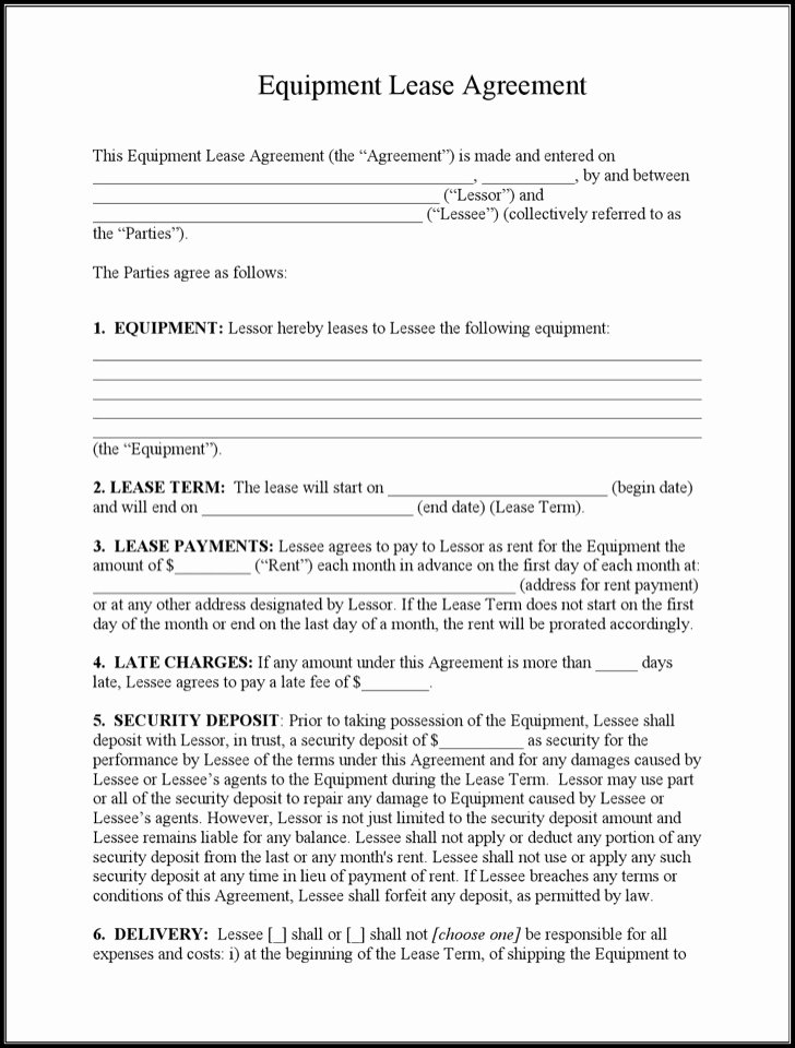 Equipment Rental Agreement Template Free Beautiful Sample Equipment Lease Templates