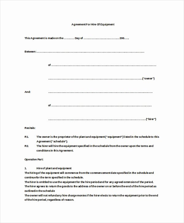 Equipment Rental Agreement Template Free Best Of 20 Equipment Rental Agreement Templates Doc Pdf