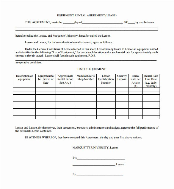 Equipment Rental Agreement Template Free Best Of Sample Equipment Lease Agreement Template 10 Free