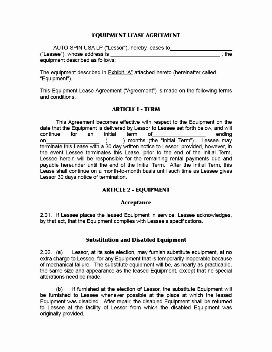 Equipment Rental Agreement Template Free Elegant 44 Simple Equipment Lease Agreement Templates Template Lab