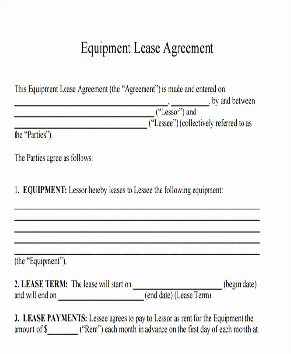 Equipment Rental Agreement Template Free Fresh 21 Printable Lease Agreement Templates Word Pdf Pages
