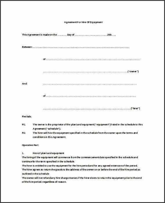 Equipment Rental Agreement Template Free Fresh 9 Simple Equipment Rental Agreement Template Free