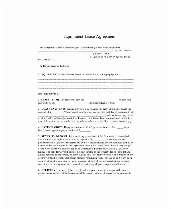 Equipment Rental Agreement Template Free Lovely 10 Equipment Lease Templates Word Pdf Google Docs