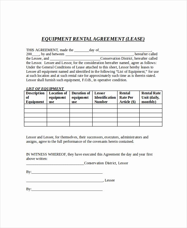 Equipment Rental Agreement Template Free Lovely 21 Free Lease Agreement Templates Word Pdf