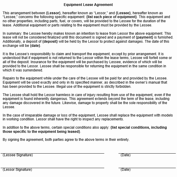 Equipment Rental Agreement Template Free Lovely Equipment Lease Agreement Template