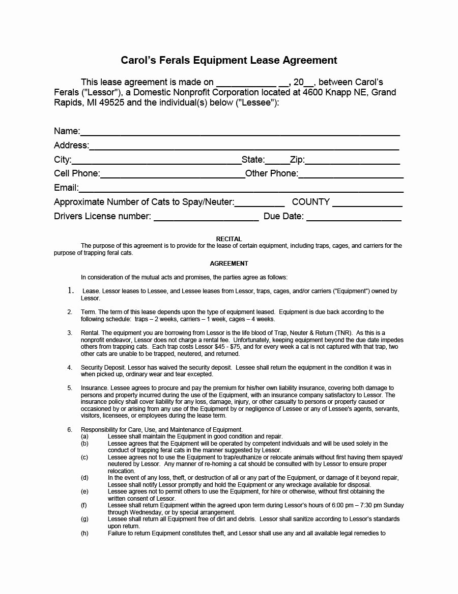 Equipment Rental Agreement Template Free New 44 Simple Equipment Lease Agreement Templates Template Lab